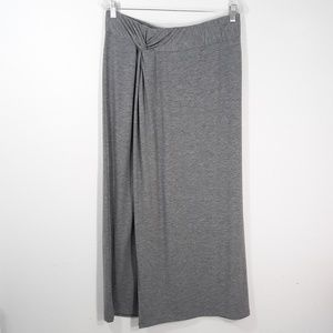 Sonoma L Heather Gray Faux Wrap Maxi Skirt
